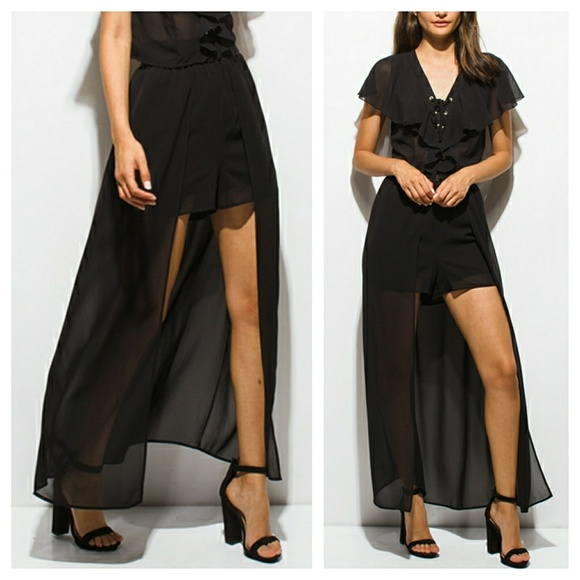ea61375fd993a Black open front maxi skirt with shorts